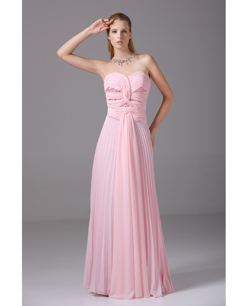 Pink Pleated Chiffon Floor Length Long Sweetheart Bridal Party Dress