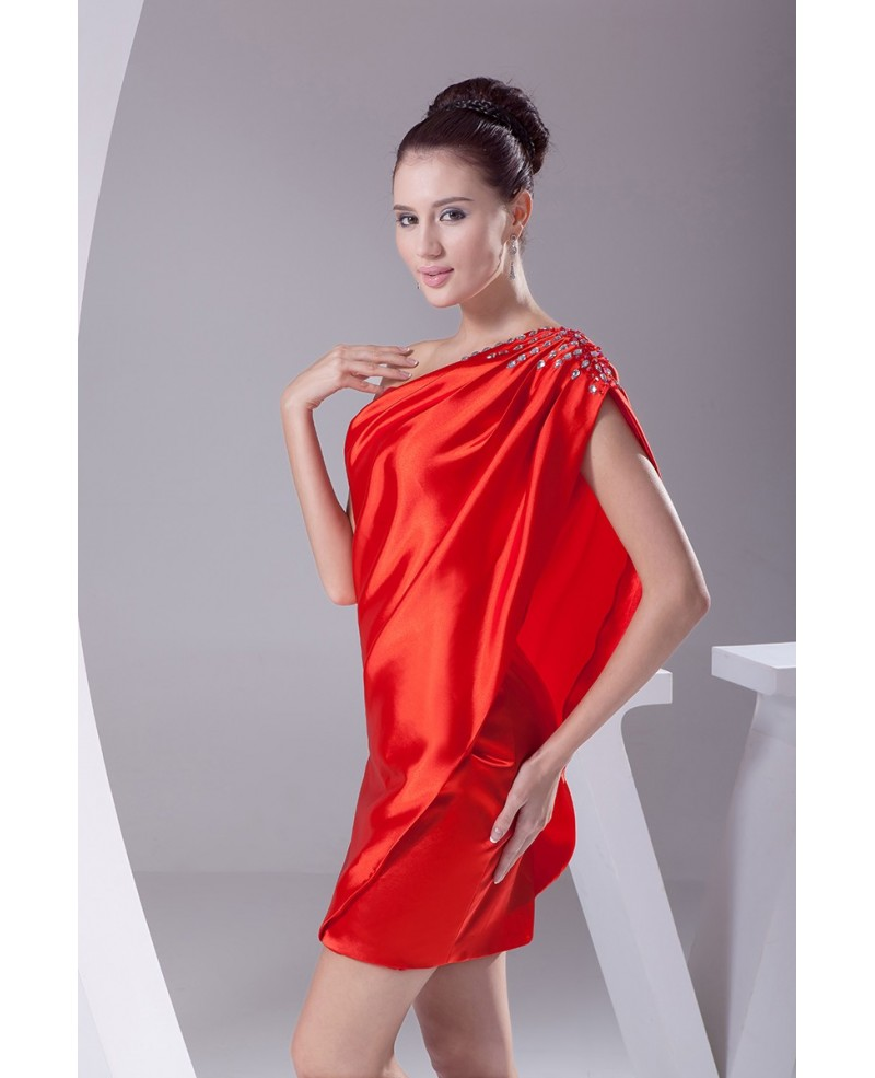 b175f88a2d1 Little Red Classy Mini Short Party Dress with One Shoulder Beaded Strap