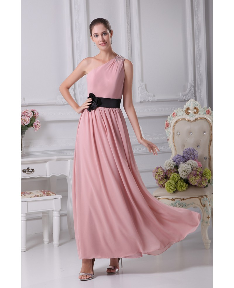 Simple Pink One Shoulder Beaded Strap Chiffon Bridesmaid Dress with Black Sash