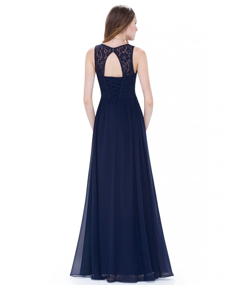 Cheap A-line V-neck Chiffon Floor-length Bridesmaid Dress With Lace