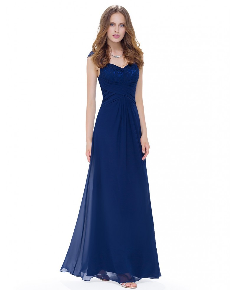 Cheap A-line Sweetheart Floor-length Lace Chiffon Dress With Cap Sleeves