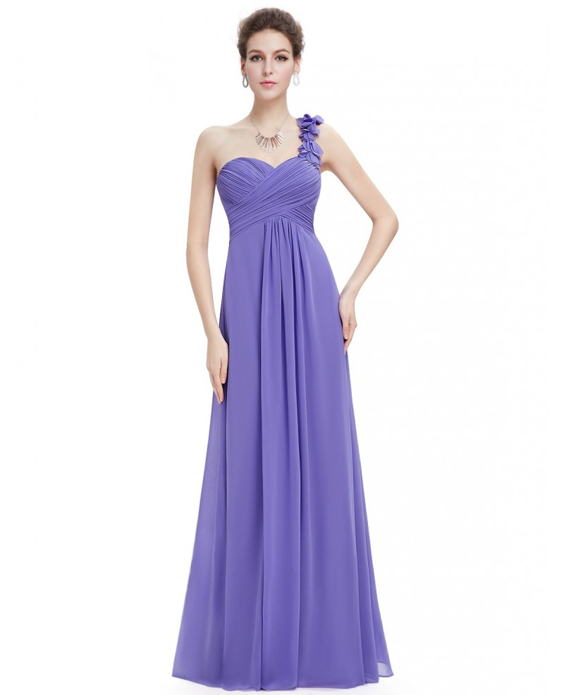 Cheap Empire One-shoulder Chiffon Floor-length Bridesmaid Dress With Ruffle