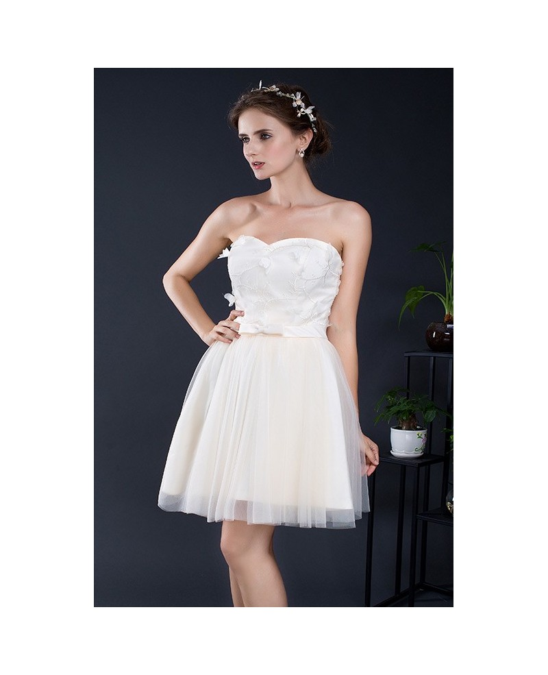 Sweetheart Champagne Short Tulle Dress