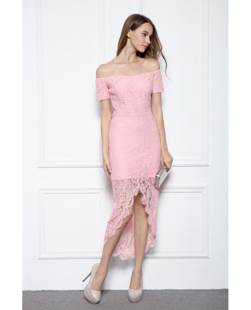 Pink Sheath Off-the-shoulder Lace High Low Formal Dress