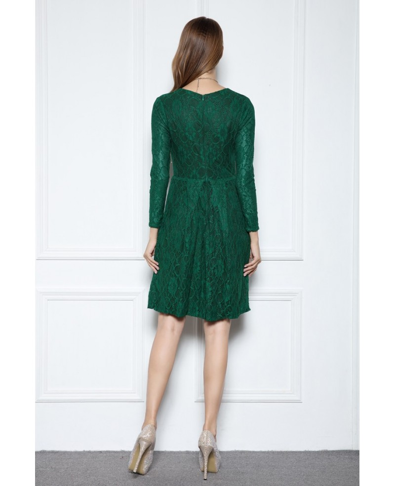 Dark Green A-line Scoop Neck Knee-length Lace Formal Dress With Long Sleeves