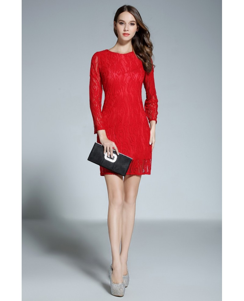 ab84ada945e Sheath Scoop Neck Lace Short Red Formal Dress With Sleeves Bd18102