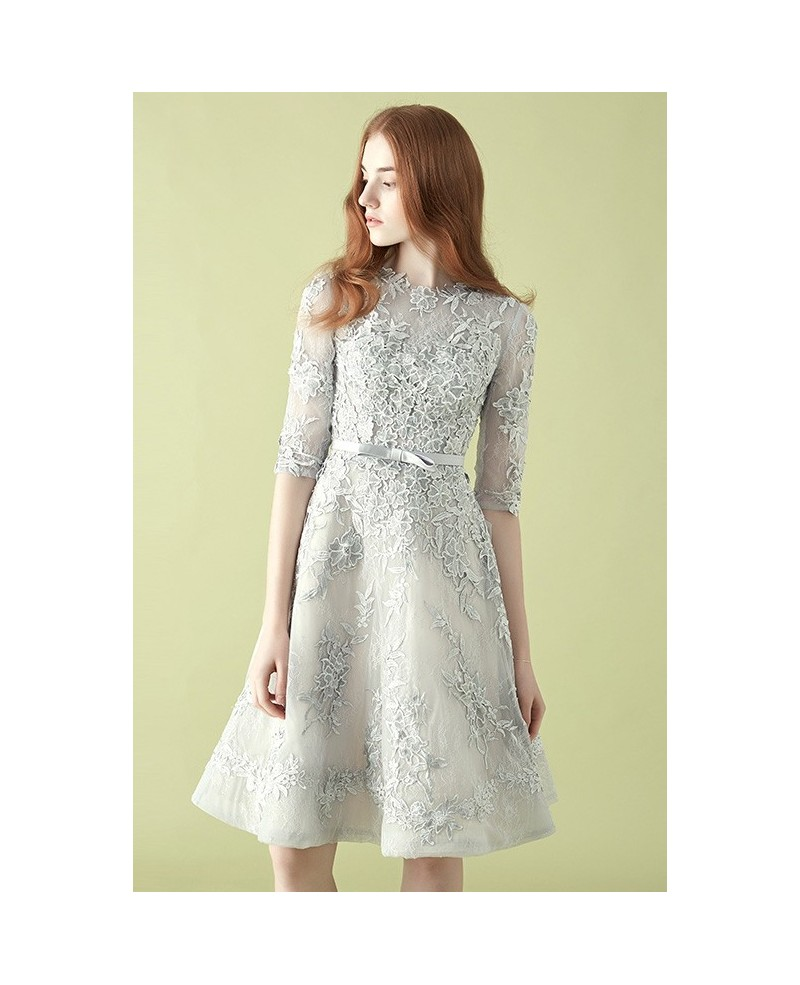 Gorgeous Silver Lace Half Sleeve A-line Tulle Wedding Party Dress