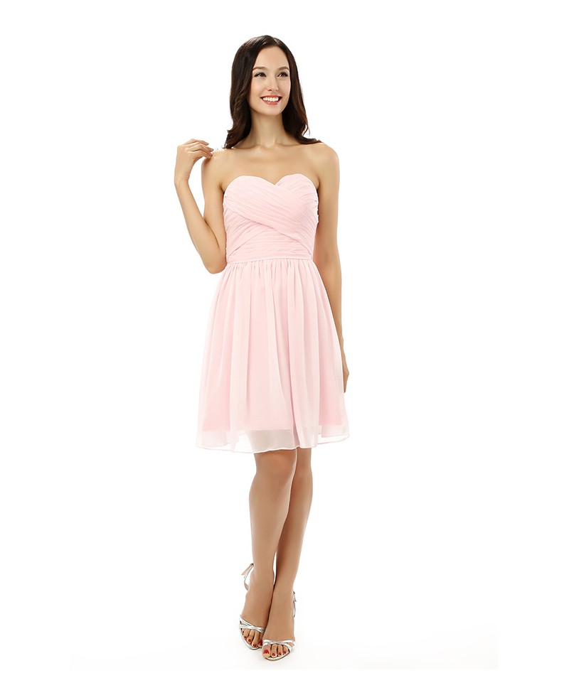 Pearl-pink A-line Sweetheart Knee-length Prom Dress