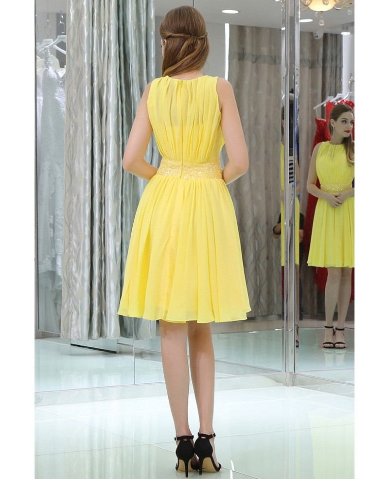 781f00d864c Simple High Neck Short Yellow Chiffon Prom Dress With Beading Waist ...