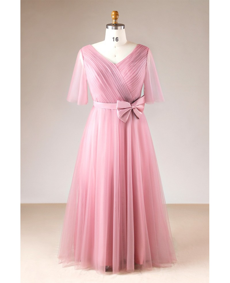 Plus Size Rose Pink Pleated V-neck Long Formal Dress With Sleeves