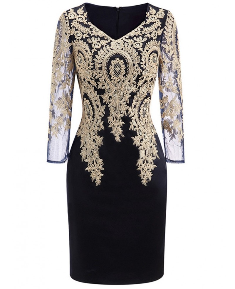 Long Sleeve Embroidered Cocktail Dress For Women Over 40 50 Wedding