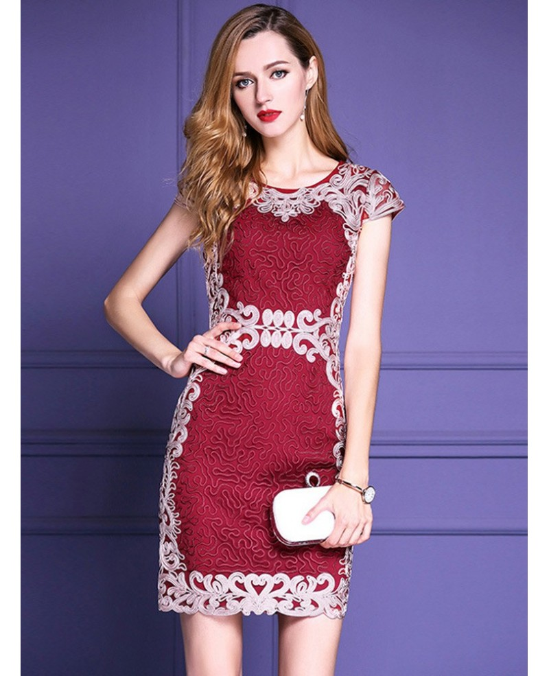 Burgundy Formal Embroidered Bodycon Cocktail Dress For Weddings