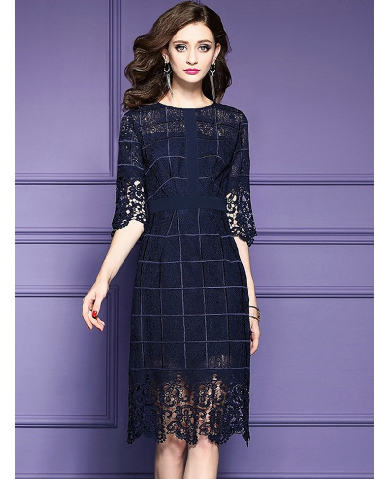 Navy Blue Lace Half Sleeve Short Dress For Weddings