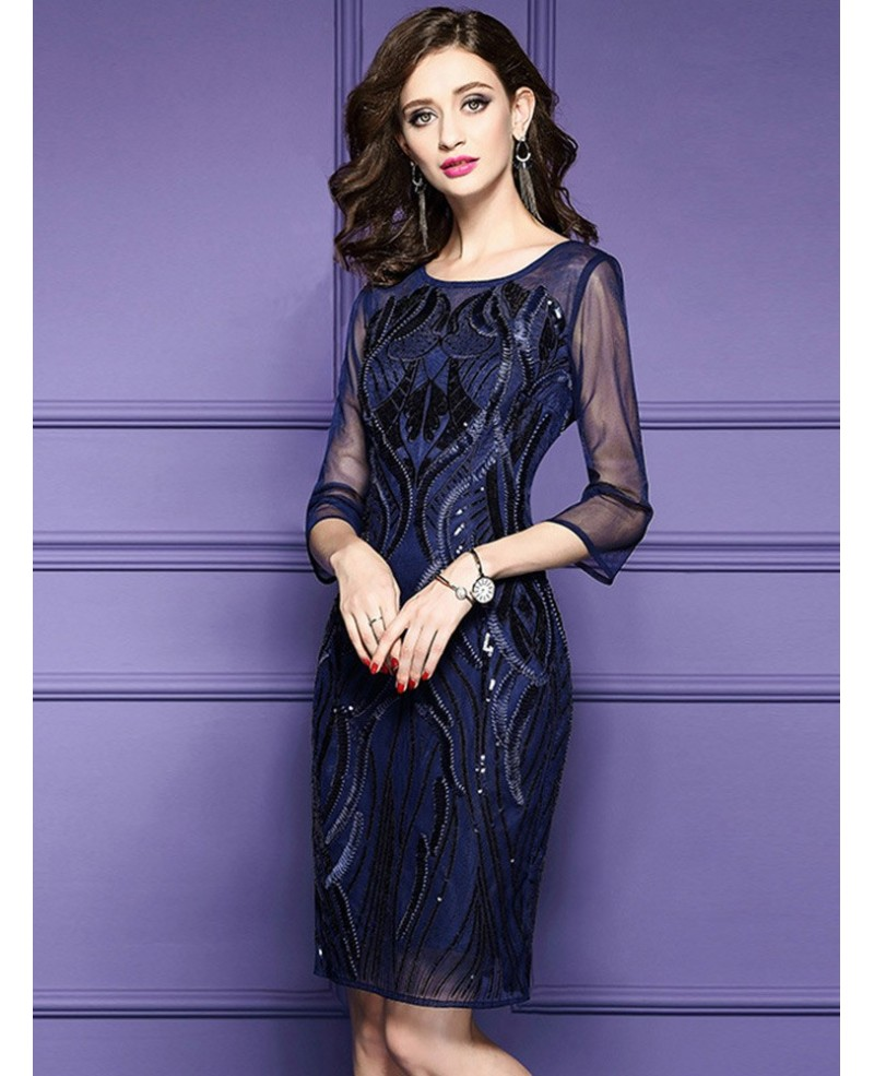 Classy Royal Blue Luxe Embroidered Cocktail Dress For Weddings Wedding Guests Bd25765 Cocktail Dresses,Bridesmaid Beach Wedding Dresses