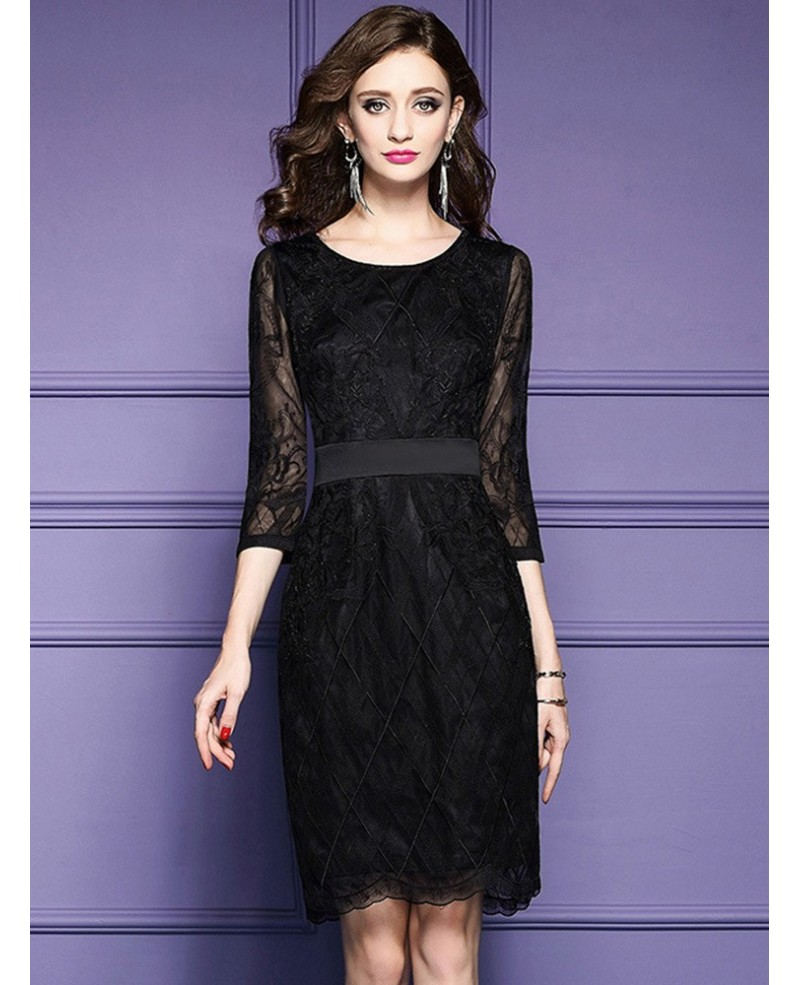 Luxe Black Lace Sleeve Short Wedding Guest Dress Black Tie For Weddings
