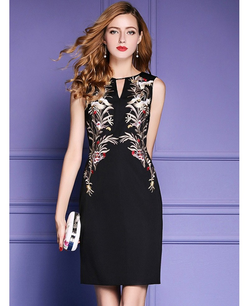 Black Sleeveless Bodycon Cocktail Wedding Party Dress With Embroidery