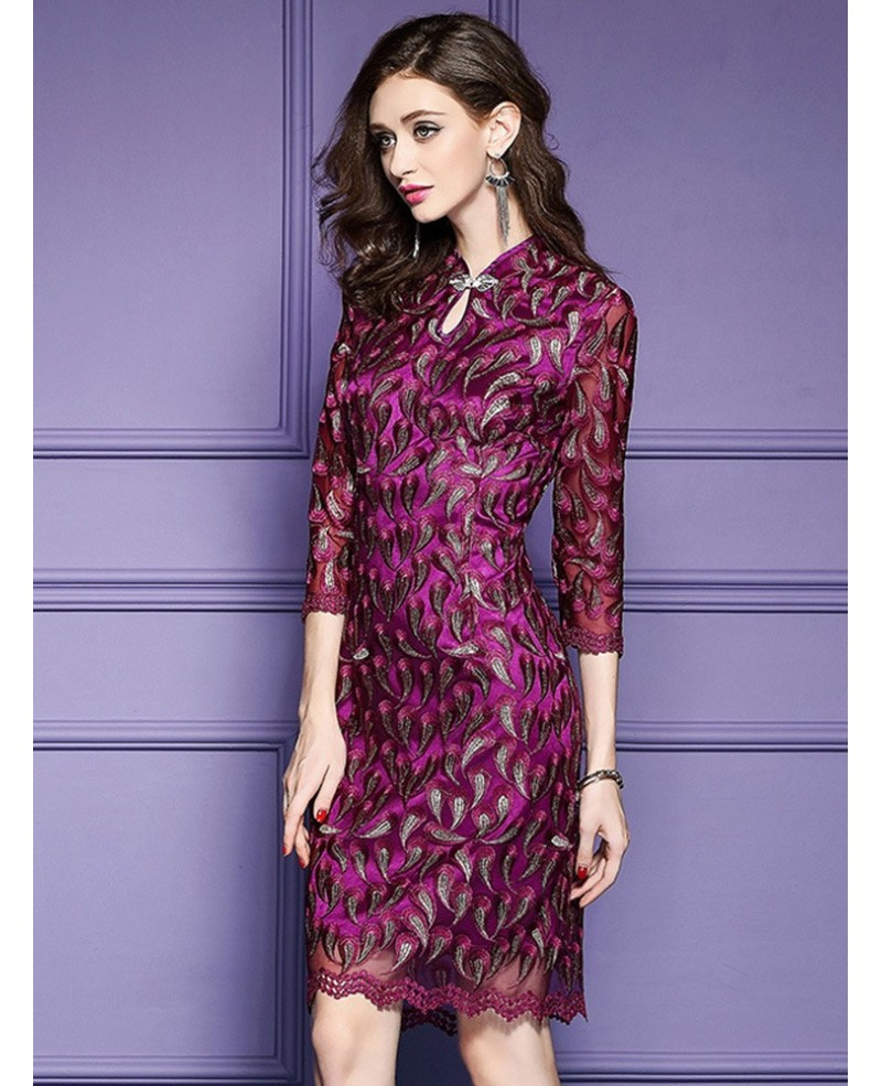 028d93475b32 Retro High Neck Qipao Style Dress For Wedding Guest Over 40