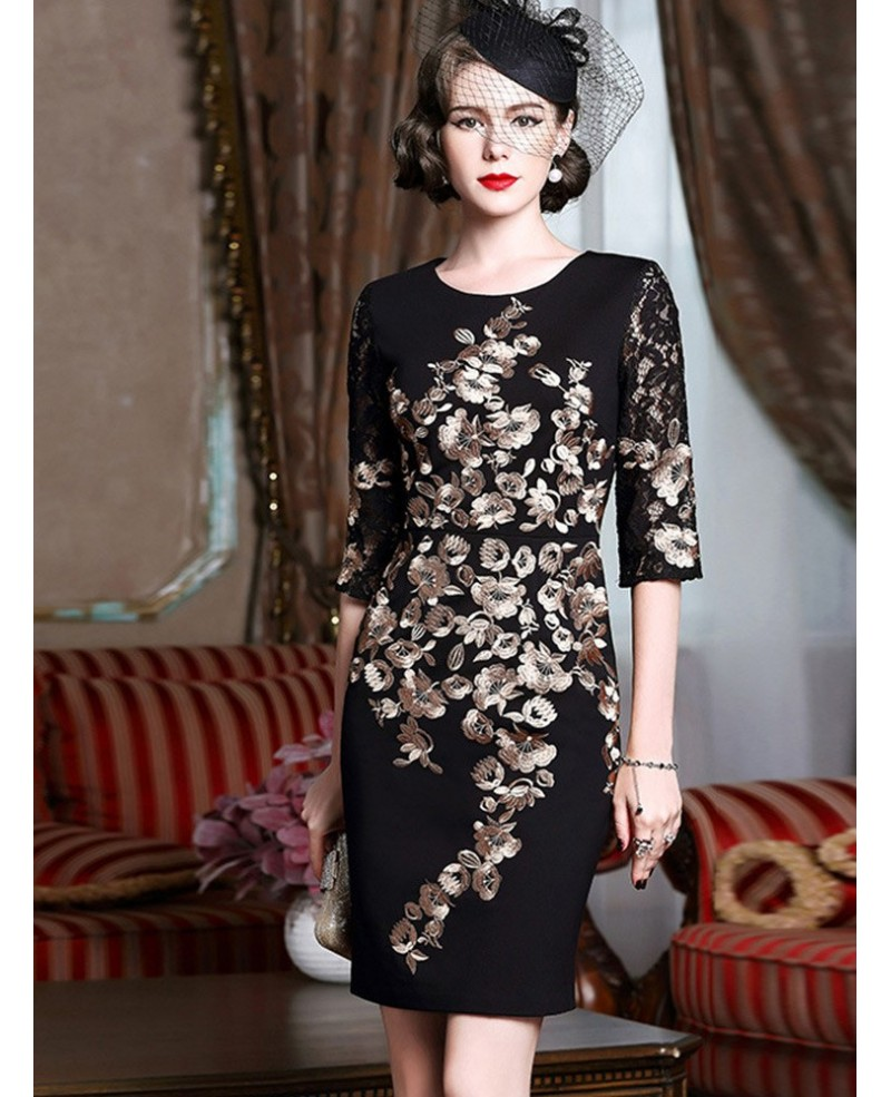 Black With Gold Classy Cocktail Dress For Women Over 40,50 Wedding ...