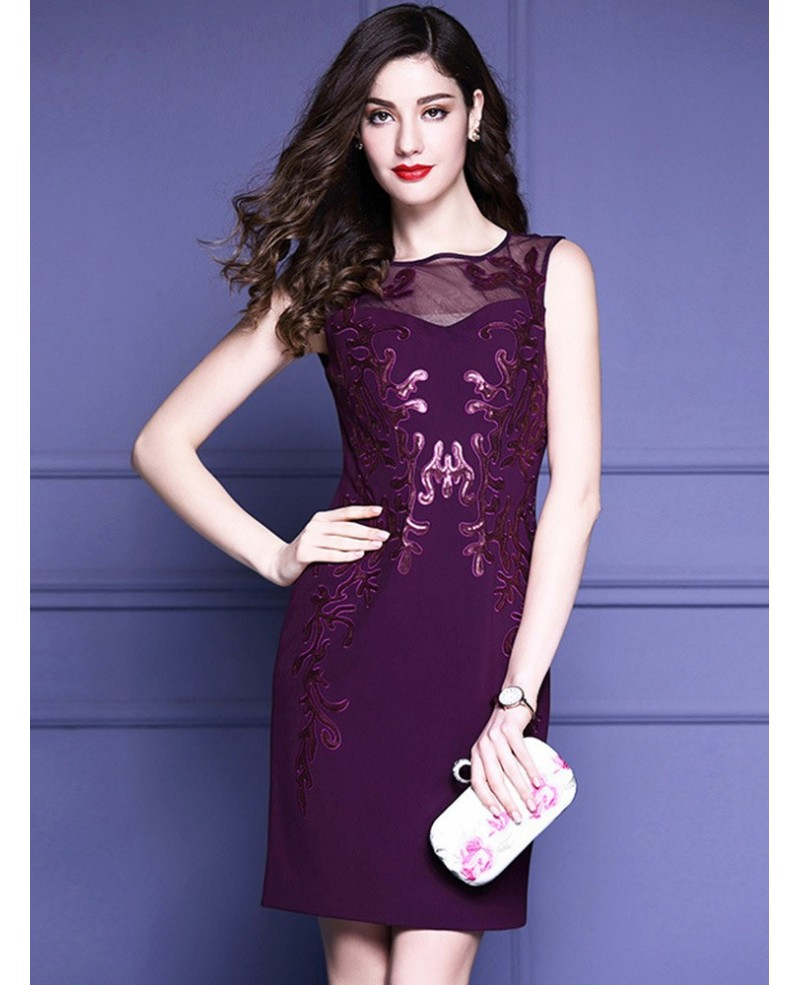 Purple Embroidery Fitted Cocktail Dress Sleeveless For Wedding Guest