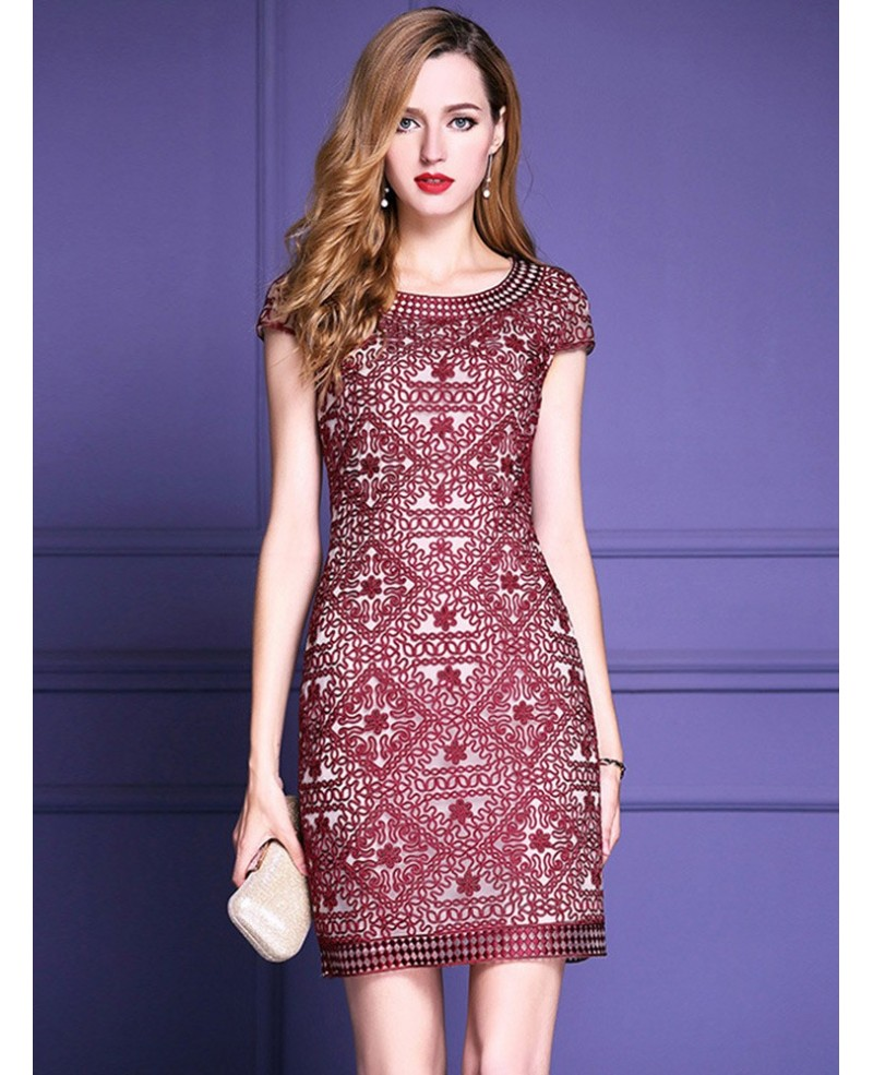 High-end Embroidery Bodycon Cocktail Dress With Sleeves For The Wedding