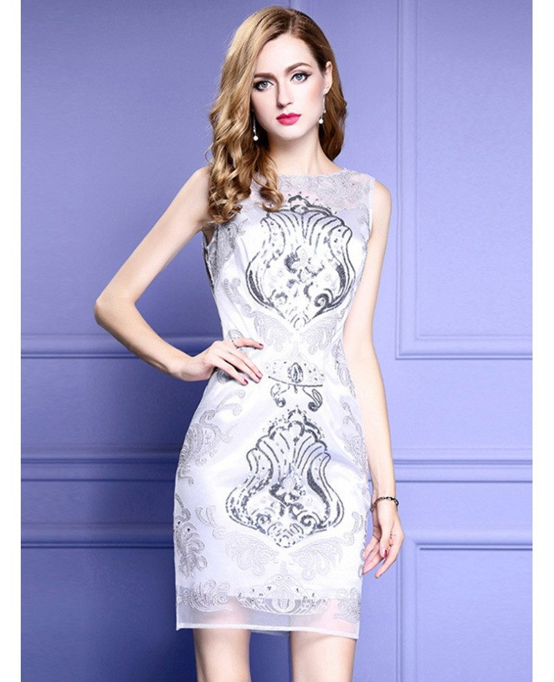 Sheath Fitted Grey Cocktail Dress For Wedding Guests With High-end Embroidery
