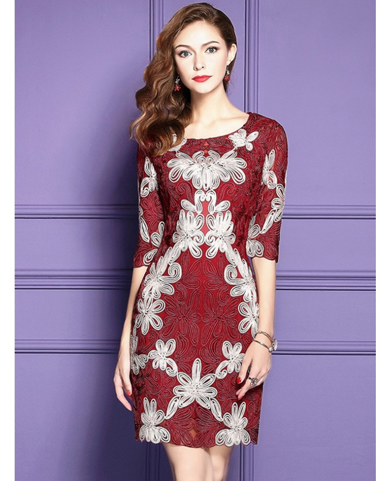 Embroidered Pattern Cocktail Dresses For Women Over 40,50 With High-end Embroidery