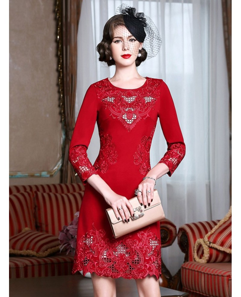 High-end Embroidery Long Sleeve Party Dress For Women Over 40,50 Wedding Guests