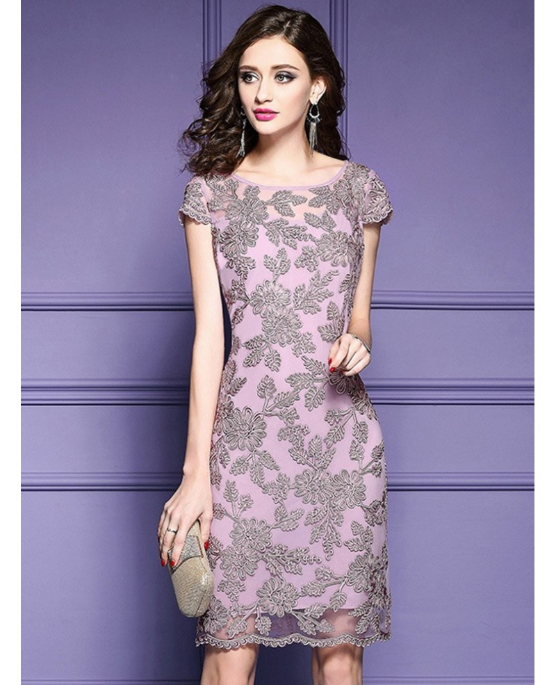 High-end Pink Embroidered Cocktail Dress With Cap Sleeves Wedding Guest