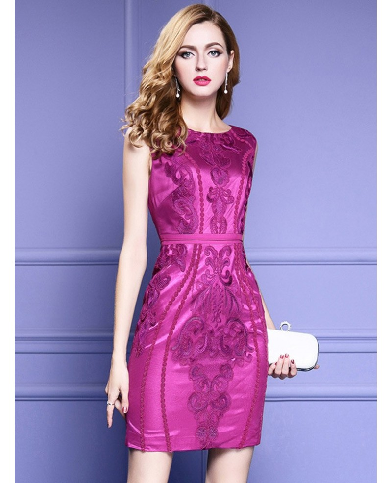 Purple Bodycon Fitted Party Dress Sleeveless For Weddings With Embroidery