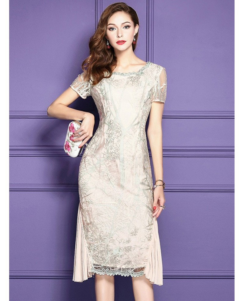 Elegant Apricot Knee Length Bodycon Formal Dress For Weddings With Embroidered Sleeves