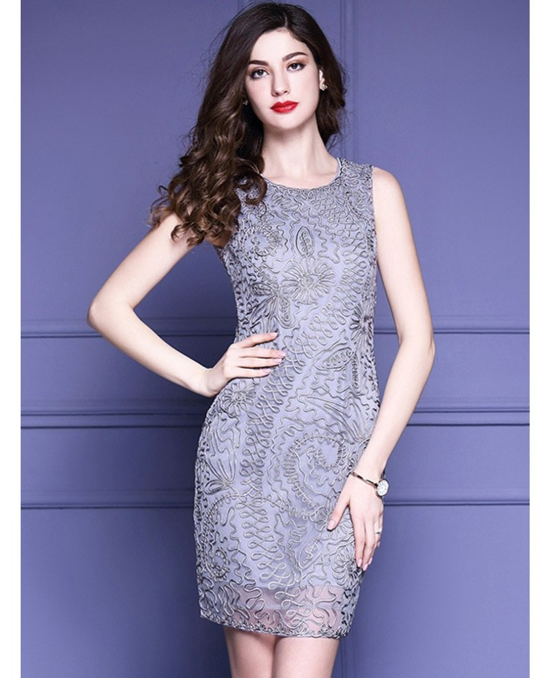 High-end Grey Cocktail Party Dress Wedding Guests With Unique Embroidery