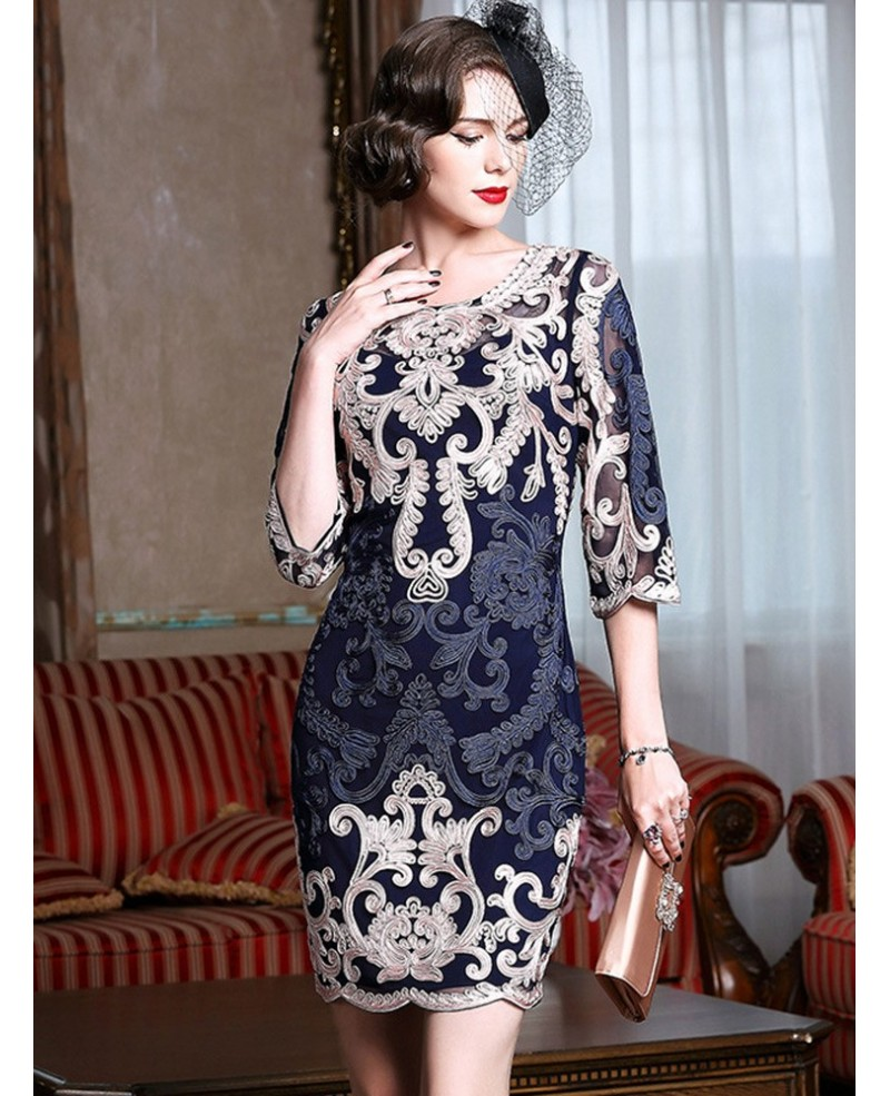 High-end Navy Blue Embroidery Cocktail Dress For Women 40,50 Wedding Guests