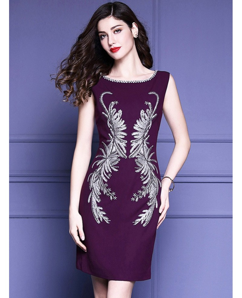 c2c630237e Unique Embroidery Pattern Purple Cocktail Dress Sleeveless For Weddings