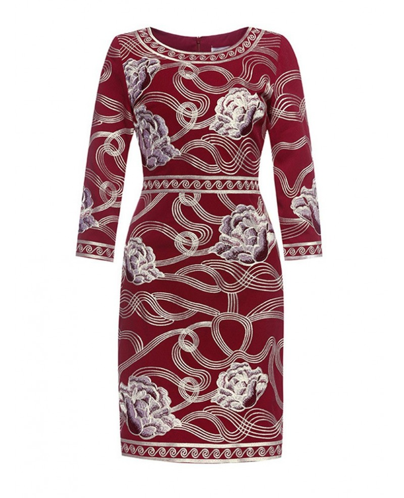 Vintage Embroidery Pattern Burgundy Short Dress With 3/4 Sleeves