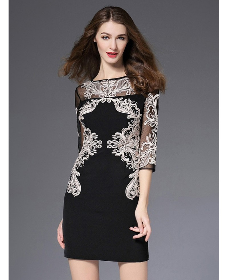 Unique Black Bodycon Formal Dress With Embroidery For The Wedding