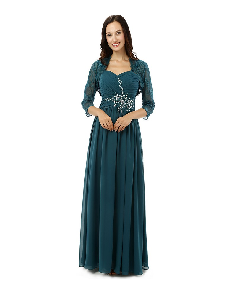 Sheath Sweetheart Spaghetti-strap Floor-length The Mother of The Brides Dress with Jacket