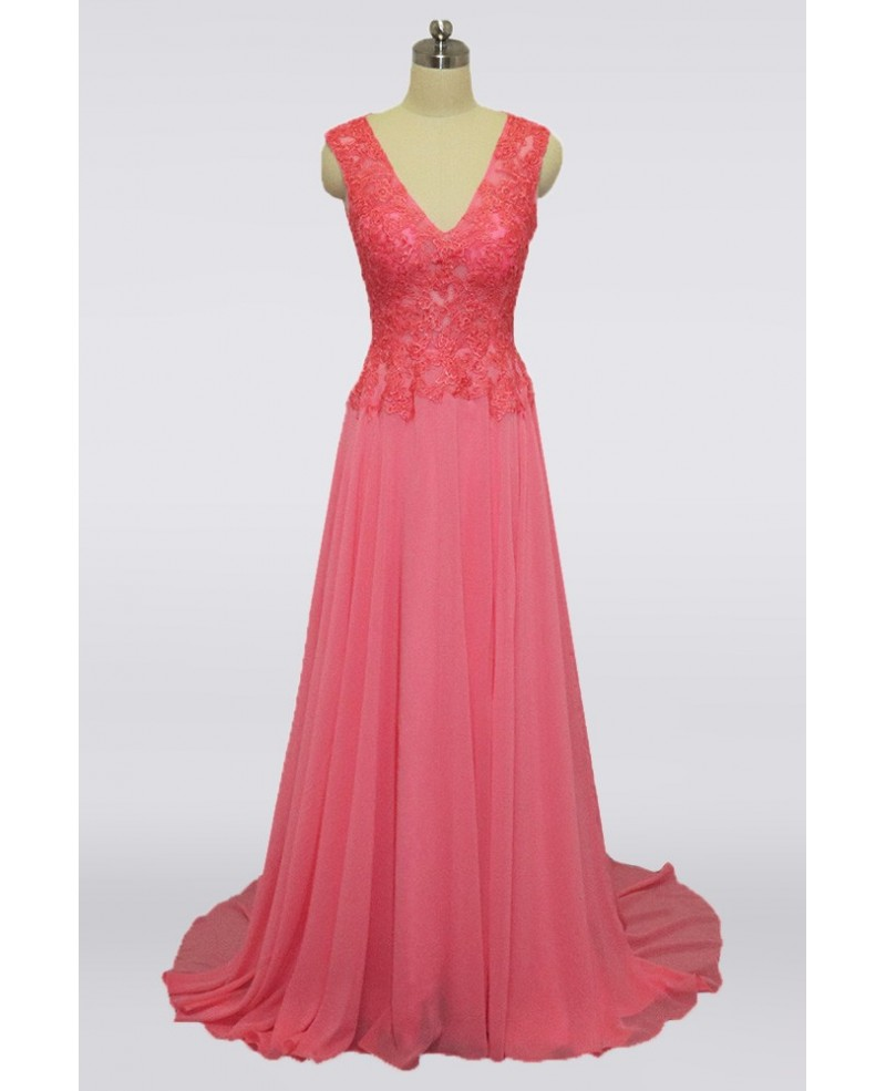 Youngful Coral Pink Long Mother Of The Bride Dress V-neck With Lace Bodice