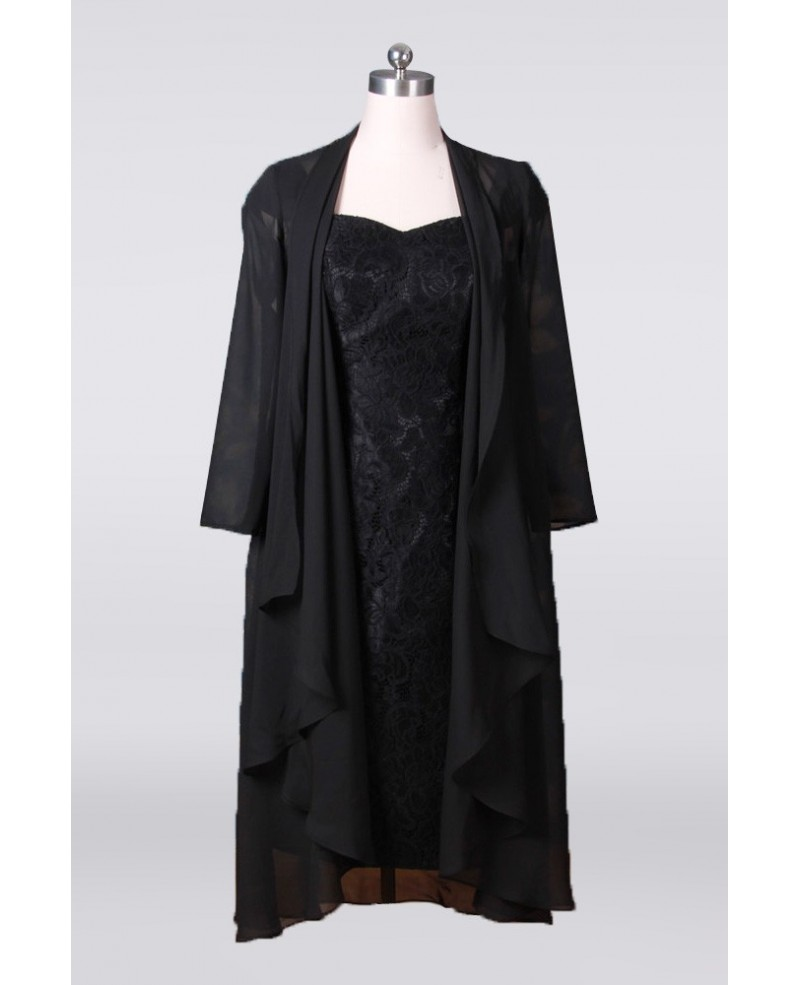 Tea Length Black Sheath Mother Of The Bride Dresses With Long Chiffon Jacket