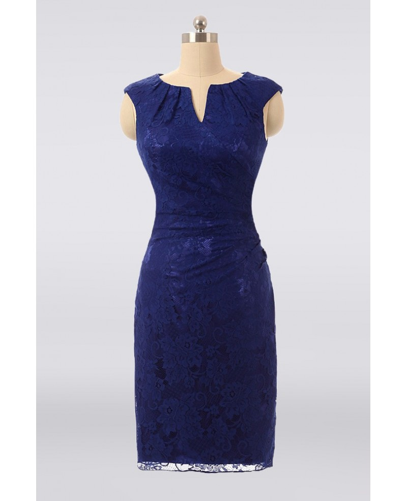 Youthful Blue Lace Sheath Cocktail Mother Of The Bride Dress Custom Color Sizes