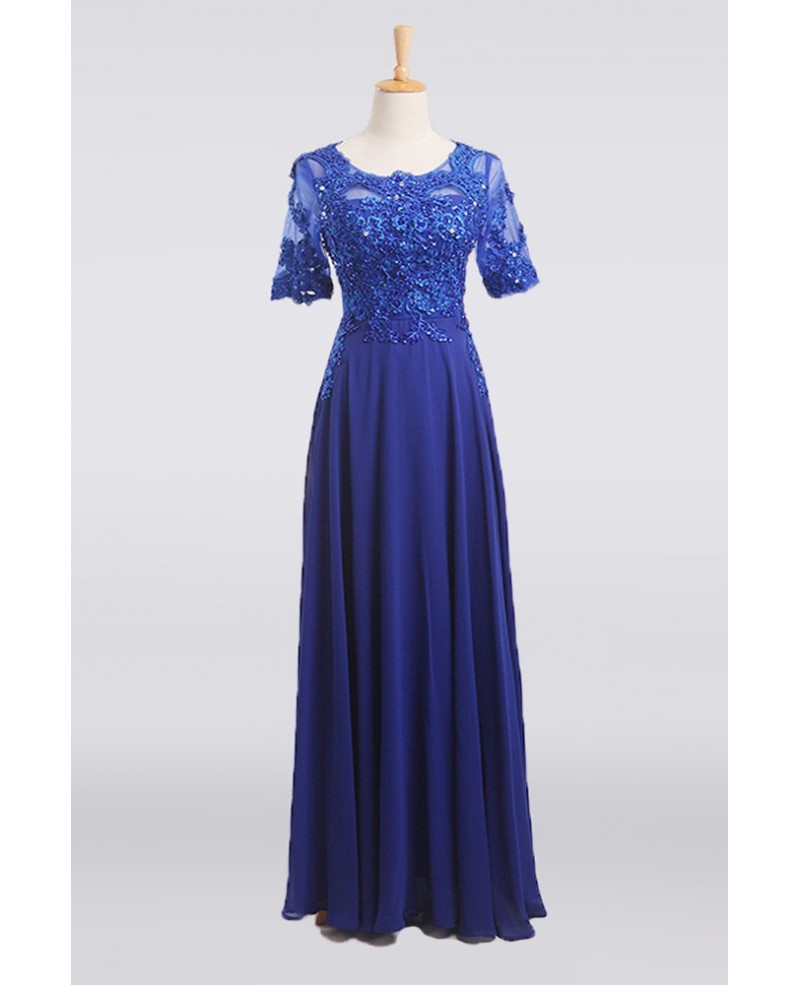 Trendy Long Chiffon Mother Of The Bride Dress With Lace Beaded Sleeves