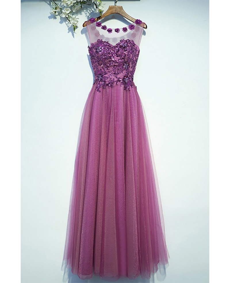 Purple Appliques A Line Cheap Prom Dress Long Sleeveless