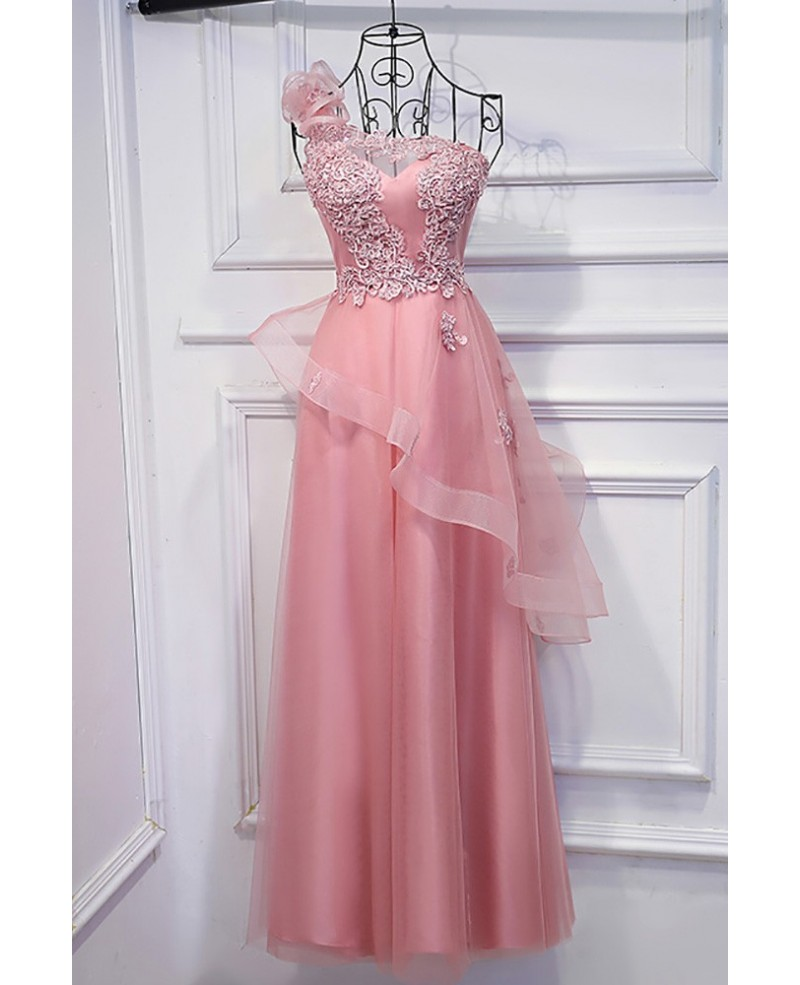 Super Cute Pink One Shoulder Prom Dress Long With Applique Lace