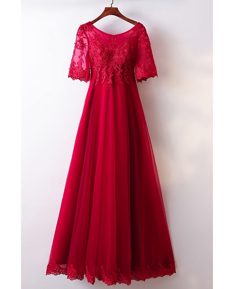 A Line Burgundy Lace Tulle Formal Party Dress With Short Sleeves