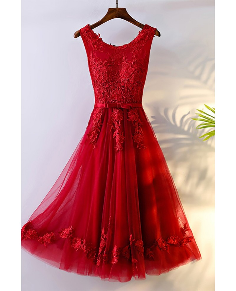 Pretty Red Lace Short Bridal Reception Party Dress Sleeveless