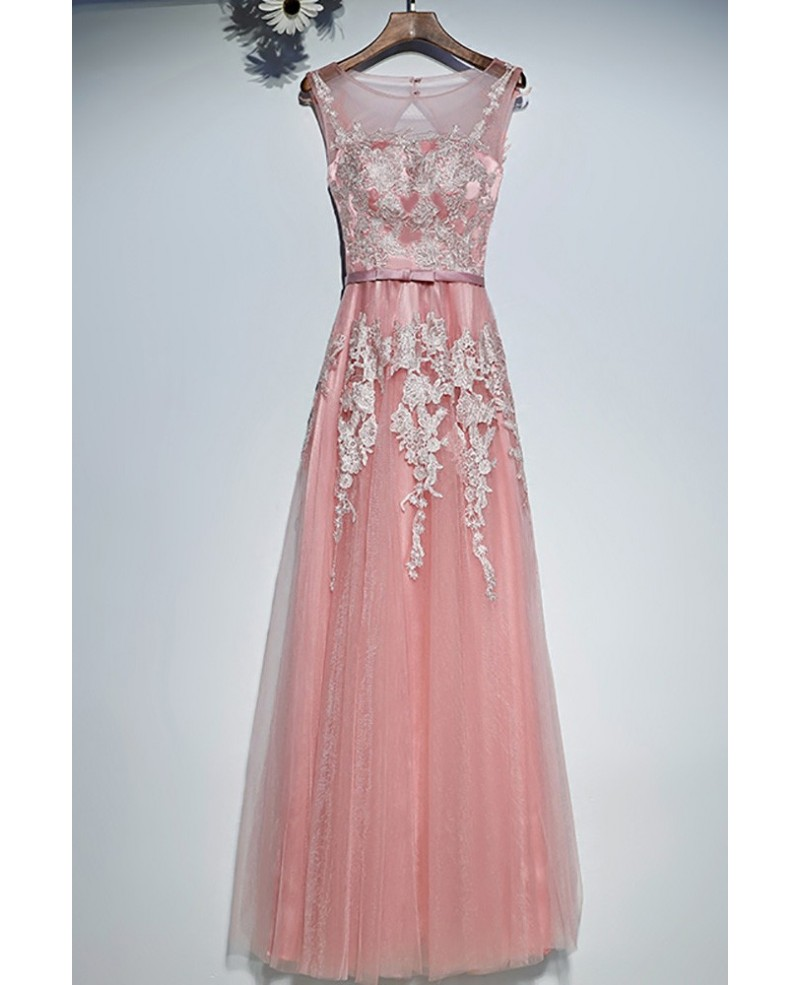 Gorgeous Long Pink White Lace Prom Dress Cheap Sleeveless