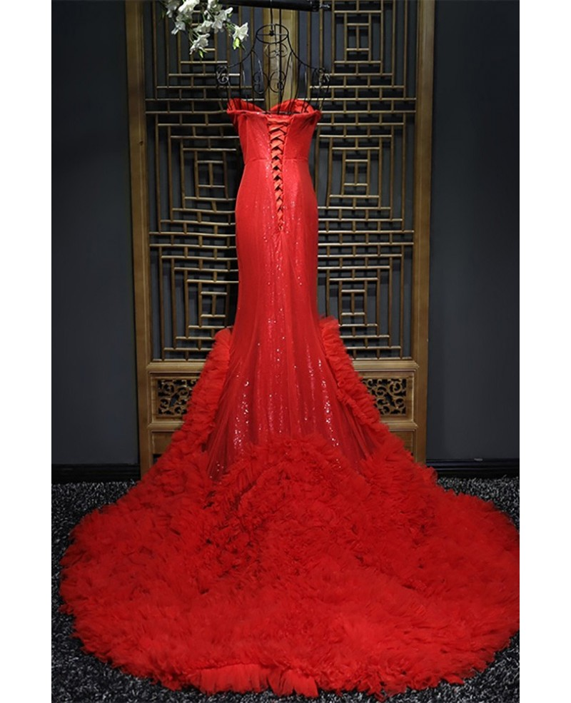 Fitted Red Mermaid Long Formal Dress With Train