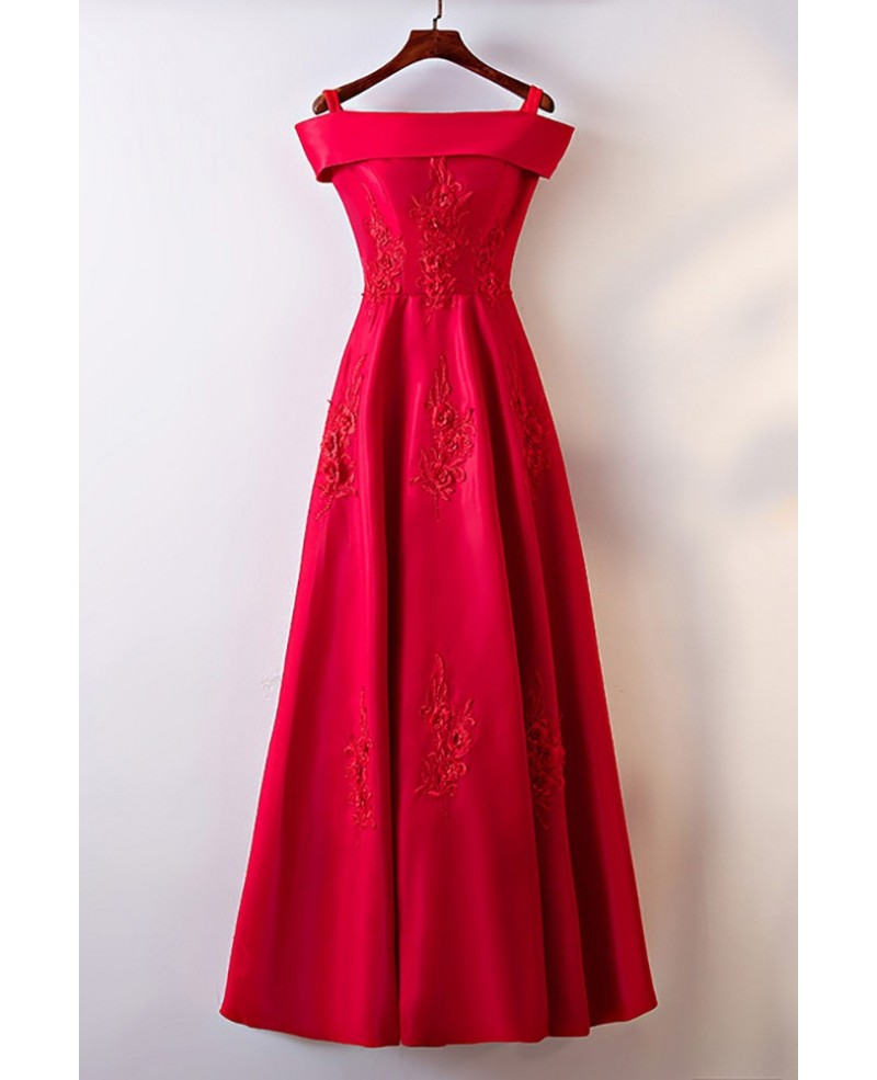 Gorgeous Burgundy Satin Off Shoulder Long Party Dress For Formal