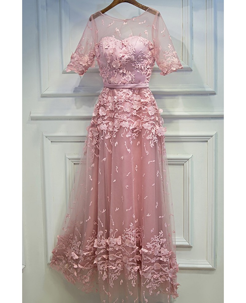 Unique Pink Applique Lace Party Dress With Illusion Neckline