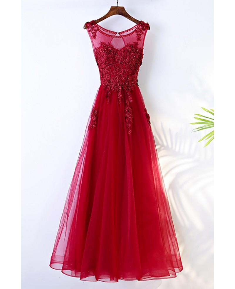 Burgundy Long A Line Formal Party Dress Sleeveless With Lace