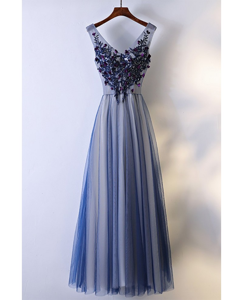 Unique Navy Blue Long Tulle Prom Dress V-neck Sleeveless